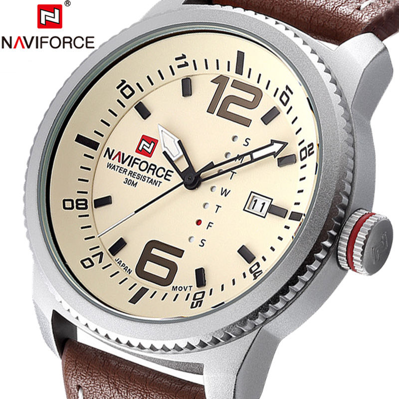 NAVIFORCE Men Watch Date Week Sport Mens Watches Top Brand Luxury Military Army Business Leather Band Quartz Male Clock Box 9063 naviforce men watch date week sport mens watches top brand luxury military army business rubber strap quartz male clock new 9123