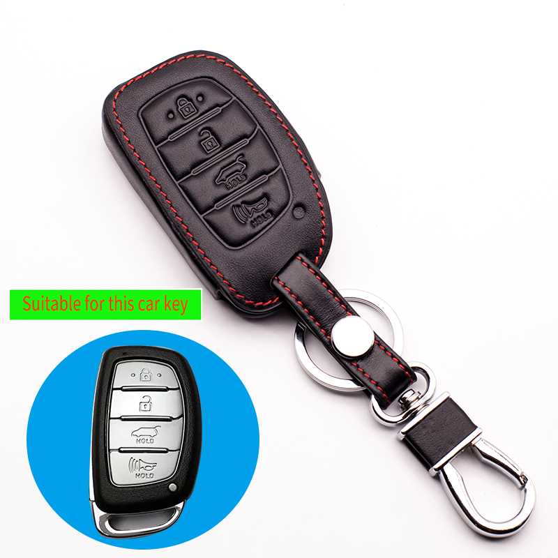 2017 Newest Hot sale Car Genuine Leather Case Cover fob for Hyundai 4 button remote control protect shell starline a93