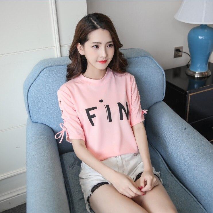 Manica Lunga camiseta 2018 Primavera BF Chic estilo Nero superior Spalle Con Foro L1