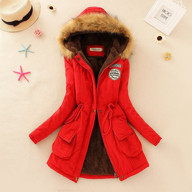 2016 Winter Jacket Women Parka Full zipper hooded Coat cotton liner Cashmere hat Polyester casual slim