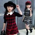 Crianças meninas 2016 Outono nova grande Tong Zhongguo vento colar quadrado moda lazer selvagem xadrez camisola vestido roupa das crianças