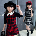 Kids girls 2016 new Autumn large Tong Zhongguo wind square collar fashion leisure wild plaid sweater dress children's clothing