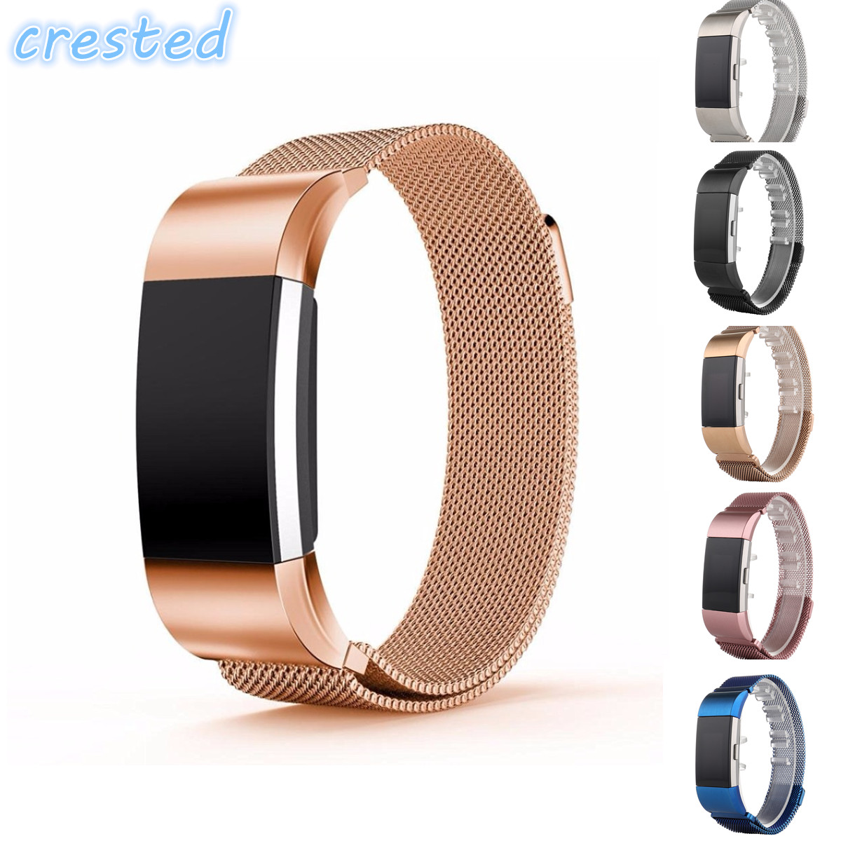 CRESTED Luxury Magnetic Milanese Loop Wrist strap for Fitbit Charge 2 Link Bracelet Stainless Steel Band
