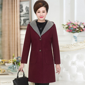 Women's Wool Coat Woolen Outerwear Long Winter Jackets Parka For Lady Casaco Feminino Hooded Maxi Coats Plus Size XXXXXL C3473