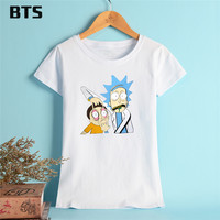 BTS Rick And Morty T Shirt Women High Quality T Shirt Women Short Creative Hot Sale
