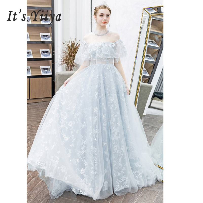 It's Yiiya   Evening   Gowns Backless Women Party   Dresses   Short Sleeve Robe De Soiree 2019 Plus Size High Collar   Evening     Dress   E613