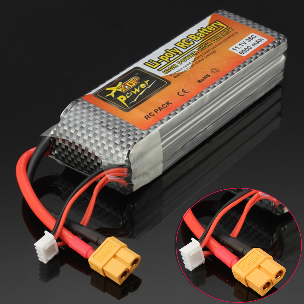1pcs ZOP Power 11.1V 6000mAh 3S 35C XT60 Plug For RC Drone Models Helicopters Airplanes Cars Boat Batteria