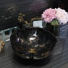 Lavabo de cerámica de estilo antiguo, Europeo, lavabo, tocador, lavabo negro