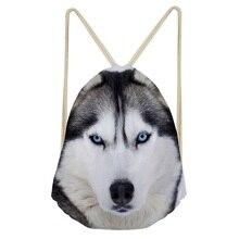 ThiKin 3D Vivid Animal Wolf Print Pattern Drawstrings Bags Men Casual Large Storage Backpacks Female Softback