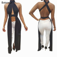 Batoneur Halter Cross Sexy Bandage Long Dresses Casual Backless Black Red Ties Loose Summer Maxi Dress