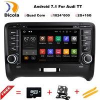Android 7.1.1! 4 ядра 7 дюймов dvd плеер автомобиля мультимедиа для Audi/TT 2006 2012 с CANBUS Wi Fi GPS Navi BT радио Бесплатная Географические карты