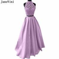JaneVini из двух частей атласа платье для выпускного вечера Длинные Высокая шея Кружевная аппликация из бисера Линия Лаванда сексуальные плать