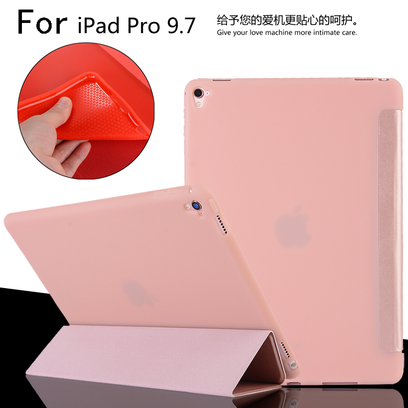 For iPad Pro 9.7 A1673 A1674 A1675 High Quality Ultra Slim Smart Sleep TPU Leather Case Cover + Film + Stylus high quality case for 2017 new ipad 9 7 pro 10 5 rock ultra slim light weight smart magnet cover auto wake sleep folding cases