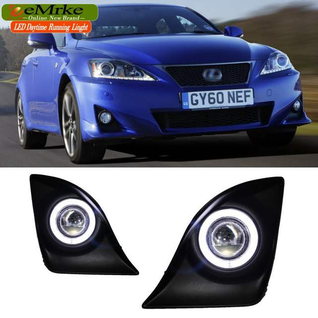 US $159 3 10% OFF|Car styling LED Daytime Running Lights For Lexus IS250  IS300 IS Series COB Angel Eyes DRL Fog Light Lamp Halogen Bulbs H11 55W-in