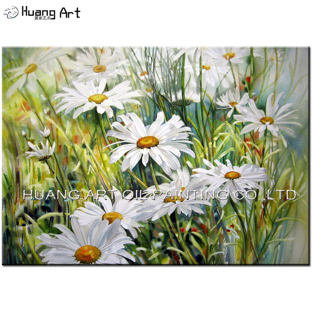 Artist Handmade High Quality White Little Daisy Oil Picture Home Decor  Canvas Landscape Painting Sofa Background
