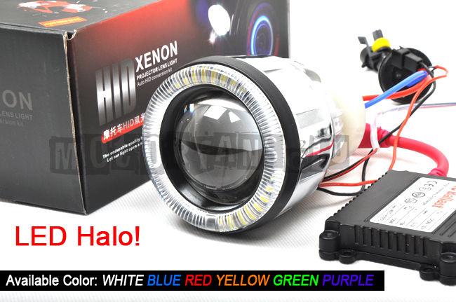ФОТО Car External Lights 3.0 inch Bi-xenon Lens Projector HID Headlight Bi-Xenon Projector LED Halo AC Ballast H1 H4 H7 55W