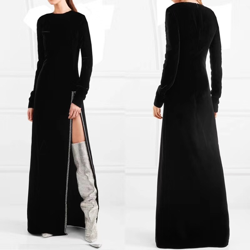 2018 autumn new sexy dress black open velvet dress long sleeve sheath nail drill super long Bodycon long fashion banquet dress