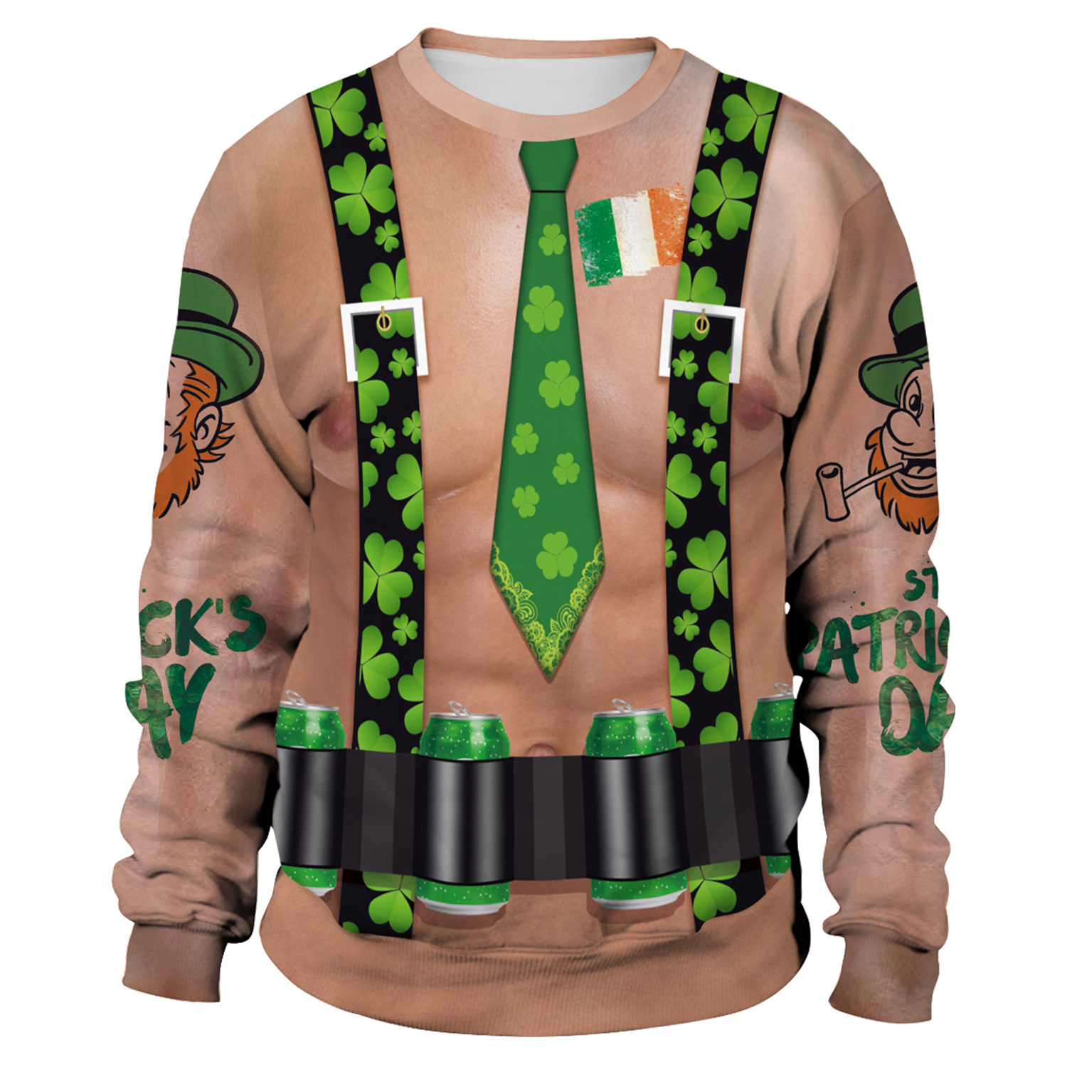 St Patrick's Day Green Shamrocks Leprechauns Belt Tie Print Hoodies Men Hoodie Round Neck Loose Sweatshirt Pullover Streetwear