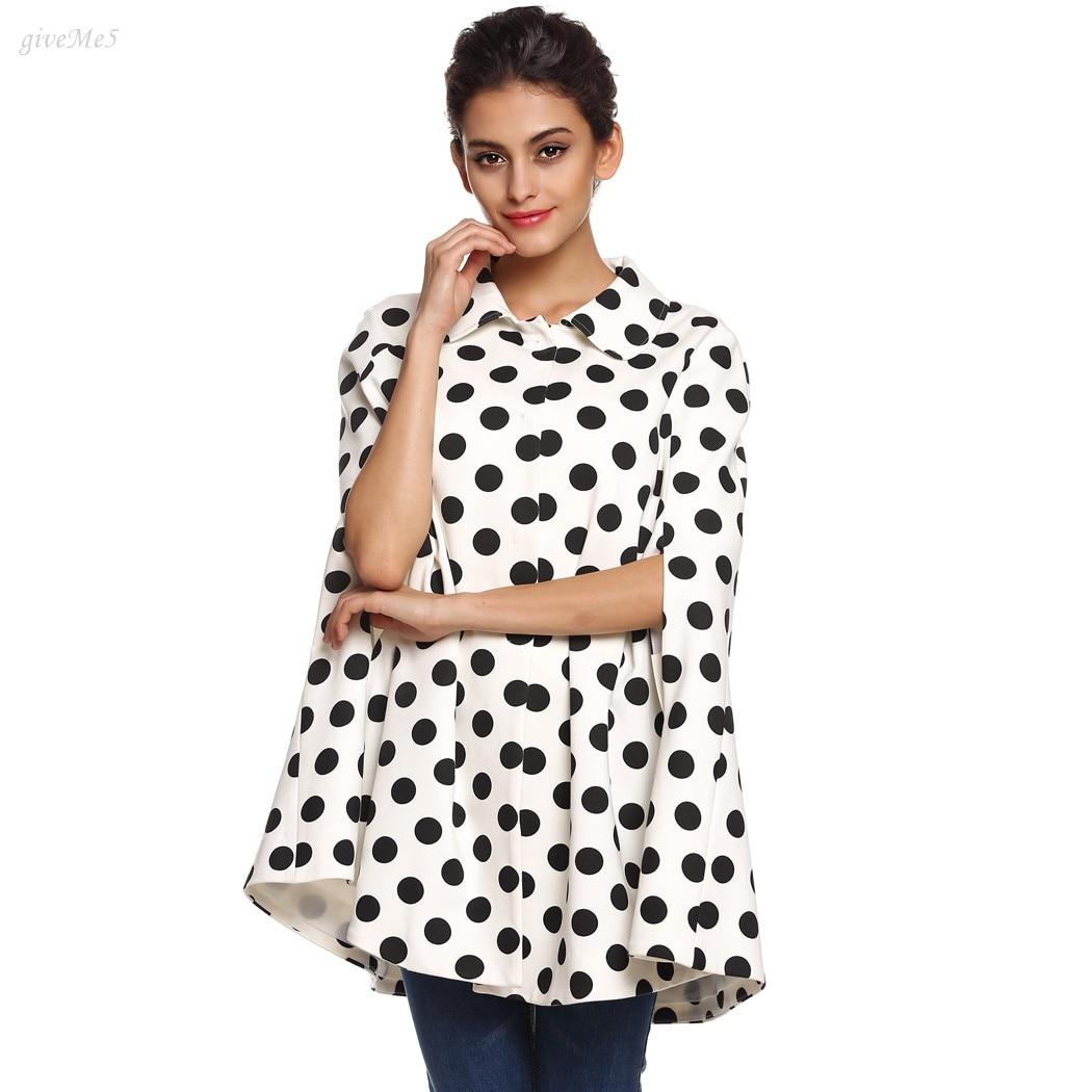 Cute Women Ladies Autumn and Winter Poncho Cape Coat Polka Dots Lapel Outwear Top