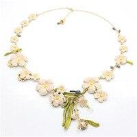 France Les Nereides Enamel Glaze Copper Trendy Romantic Lily Lily Flower Women Pearl Necklaces