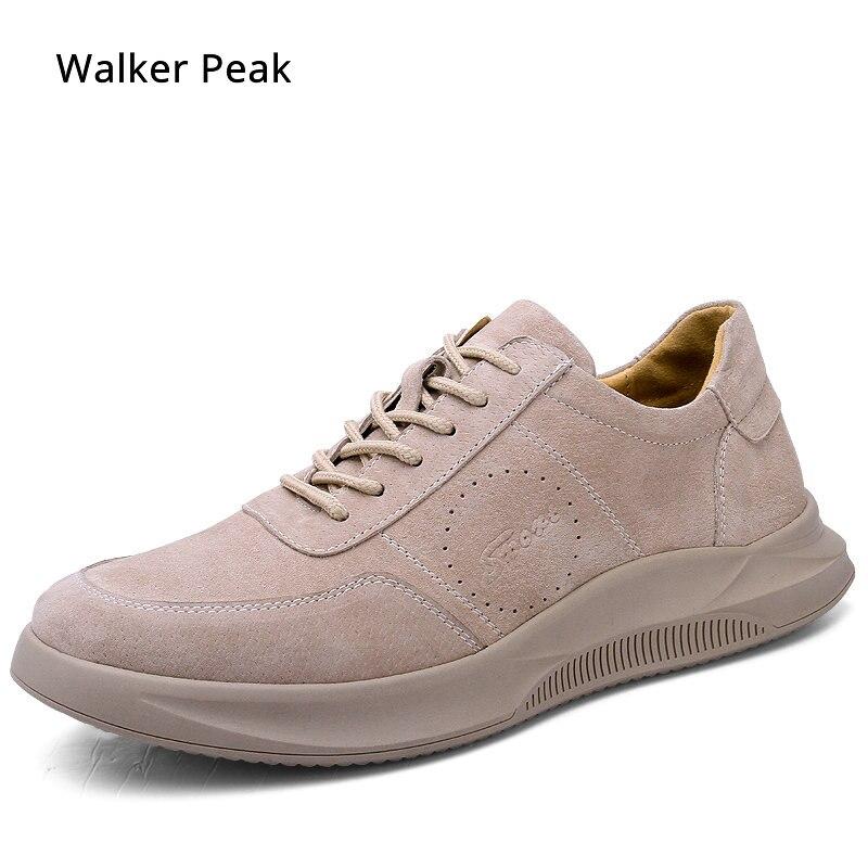 Baskets de marque en cuir véritable hommes chaussures à lacets respirant doux automne décontracté chaussures plates Simple gris Style de mode Walker peak