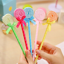 Cute Kawaii Plastic Ballpoint Pen Creative Lollipop Ballpen Caneta Stationery Gift School Supplies Free Shipping 1943
