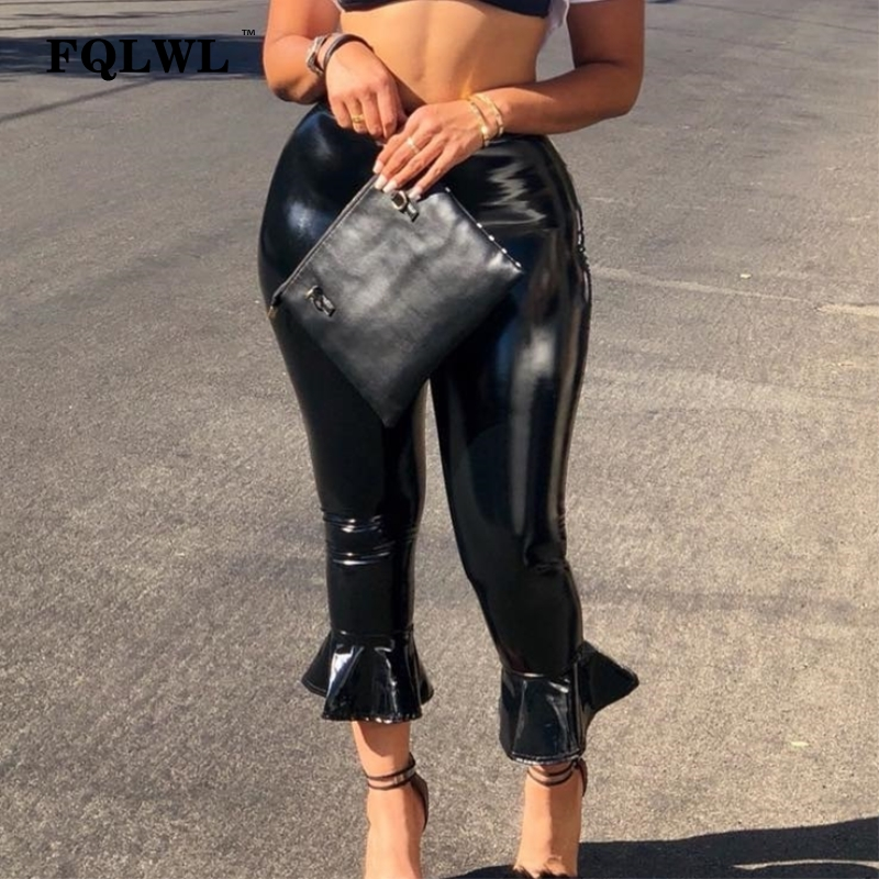 FQLWL Black Bodycon Faux Pu Leather Pants Women High Waist Flare Wide Leg Pants Female Ladies Push Up Winter Skinny Sexy Pants