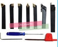 6mm 7pcs/set indexable lathe cutting tools set with inserts for CNC machine, Tincoated, lathe turning tools set