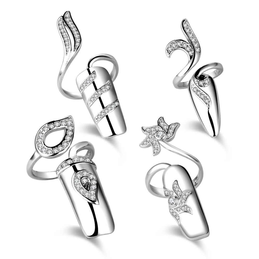Bague à ongles créative de mode définit 925 bagues en argent Sterling pour les femmes bijoux de fête Anel Anillos Aneis Bague cadeau de bijoux