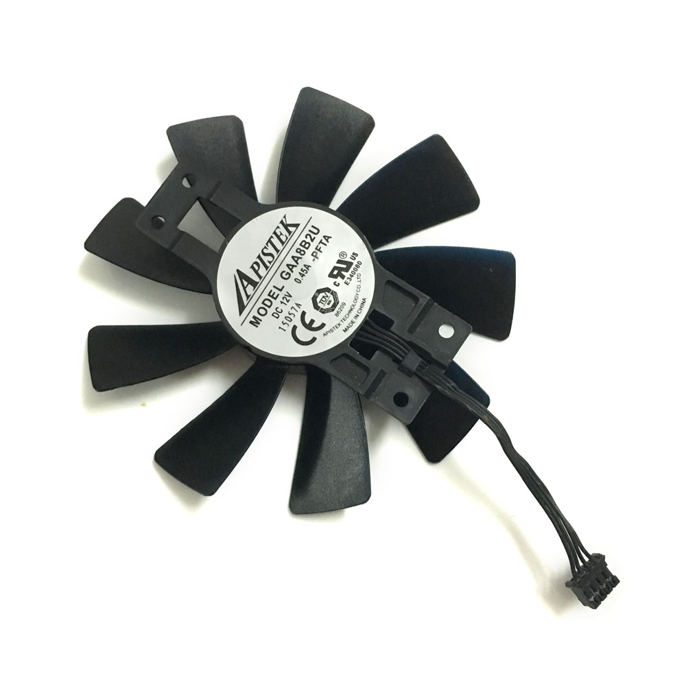 GAA8B2U 95mm 4Pin Video Card Fan R9-380 VGA Cooler Fans For Sapphire R9 380 2g/4G D5 Graphics Card cooling system 2pcs computer vga gpu cooler fans dual rx580 graphics card fan for asus dual rx580 4g 8g asic bitcoin miner video cards cooling