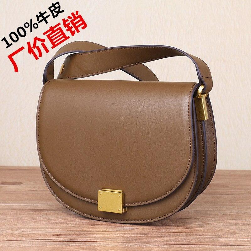 2018 hot sale saddle bag wide strap real leather messenger bag retro saddle bag semicircle shoulder bag genuine leather retro saddle bag 100