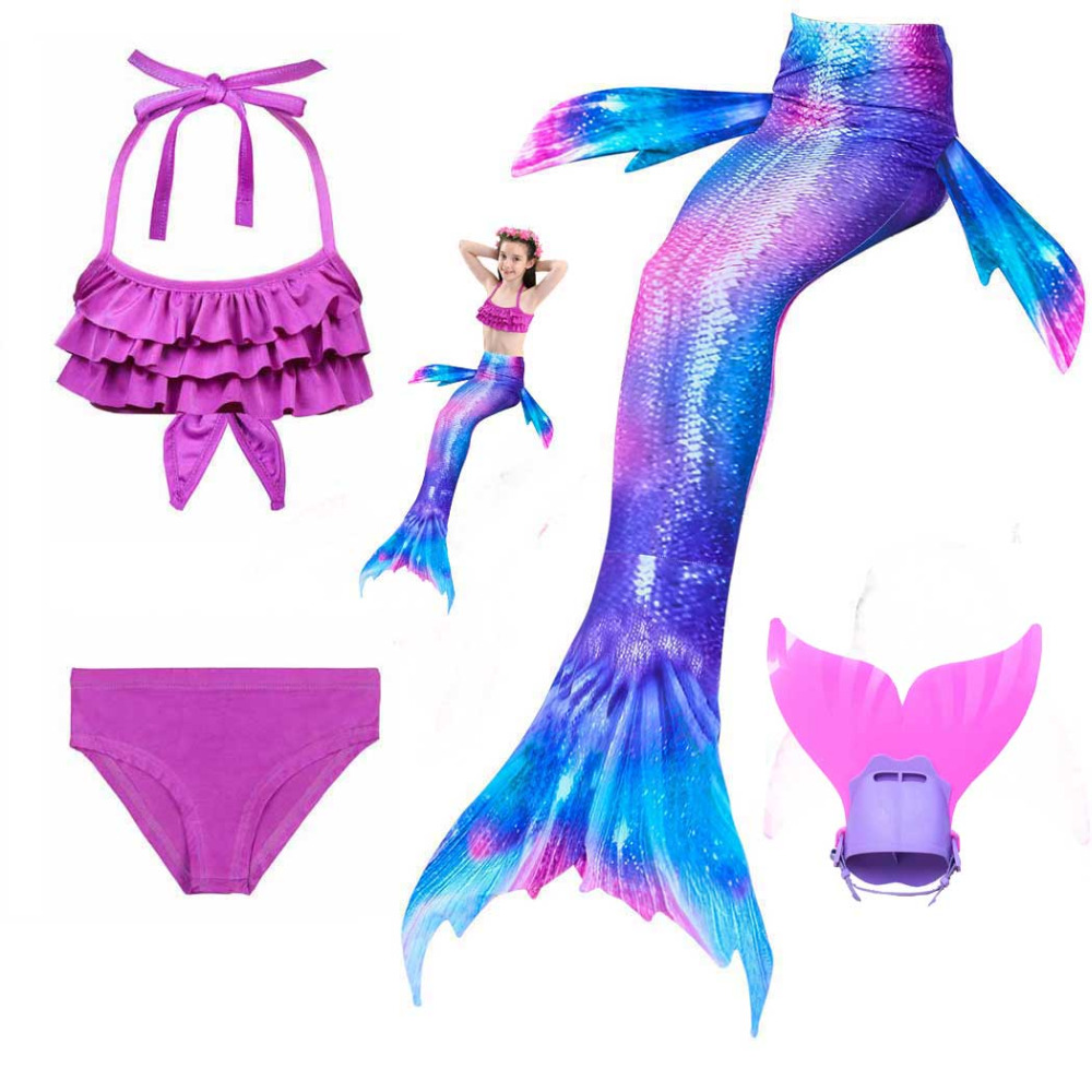 Girls Walkable And Swimmable Mermaid Swimsuit Kids Bikini And Swimming Mermaid Tail Dress And Monofin Set For Pool Beach Swim
