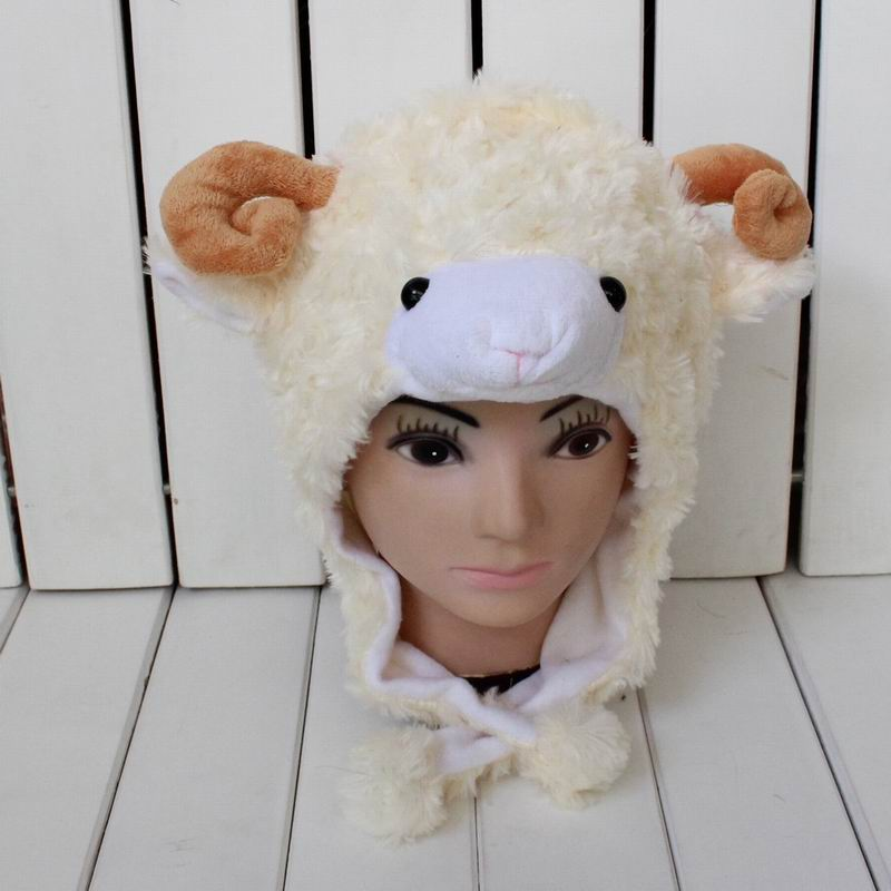 Lamb Cartoon Animal Hat 3 Color For Adult And Child Goat Plush Winter Ear Protector Skullies & Beanies Headwear