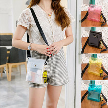 NoEnName Women Waterproof Bag Pouch Belt Pack Transparent Clear Shoulder Handbag PVC Casual Phone Makeup Purse