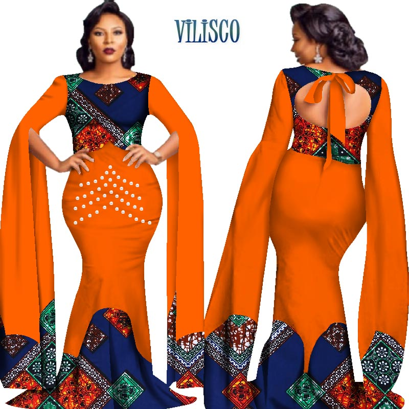 2018 African Print Pearls Dresses for Women Queen-style Vestidos Custom Bazin Long Dress Women African Clothing Party WY2778