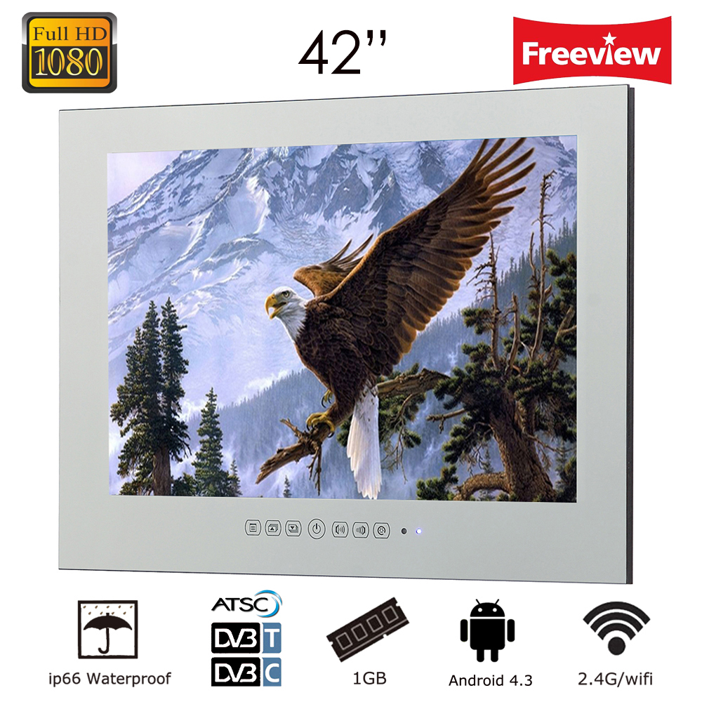 Souria 42 inch Android 4.2 Smart WiFi 1080HD Full Vanishing Mirror Shower Television Android Bathroom LED TV