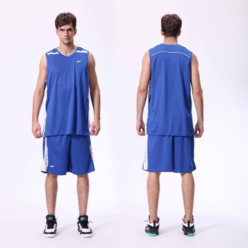 2016 new top mens sports basketball jersey set team sports blank uniforms running t-shirt tracksuit throwback print kits blue XL