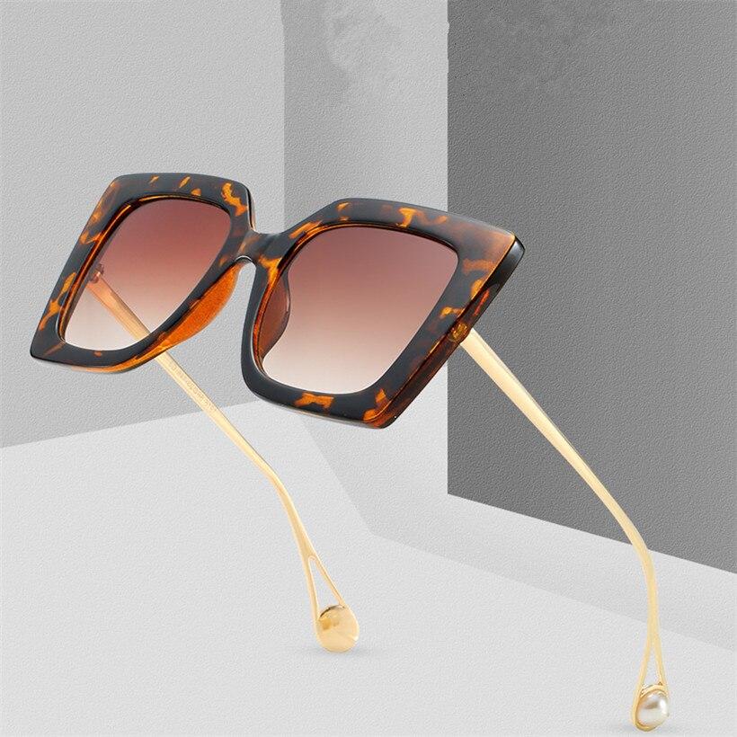 NYWOOH Oversized Sunglasses Women Trend Brand Gradient Sun Glasses Shades Big Frame Pearl Eyewear UV400