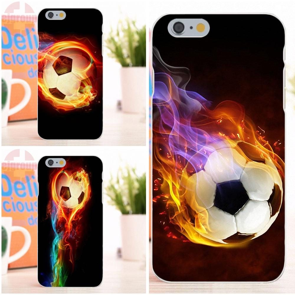 EJGROUP Football Soccer Fire Ball New Style Unique For Apple iPhone 4 4S 5 5S 5C SE 6 6S 7 8 X Plus