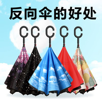 inverted umbrella umbrella car on board vehicle long handle finally open folding logo custom AD the opposite direction