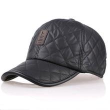 цена High quality 2015 baseball cap men autumn winter Fashion Caps waterproof fabric Hats Thick warm earmuffs baseball cap 4 colors