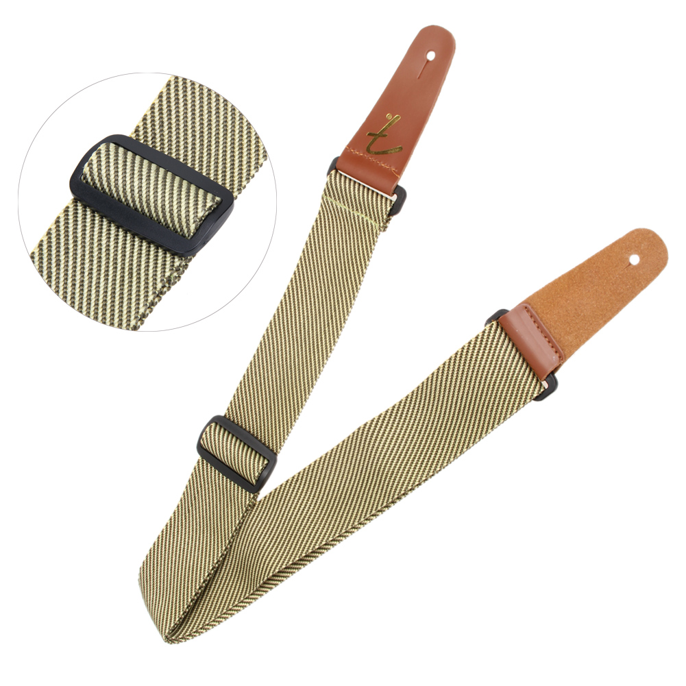 1 PC Guitar Strap Belt Soft Note Rhythm Adjustable Bass Acoustic Electric Folk Guitar Strap with Leather Ends