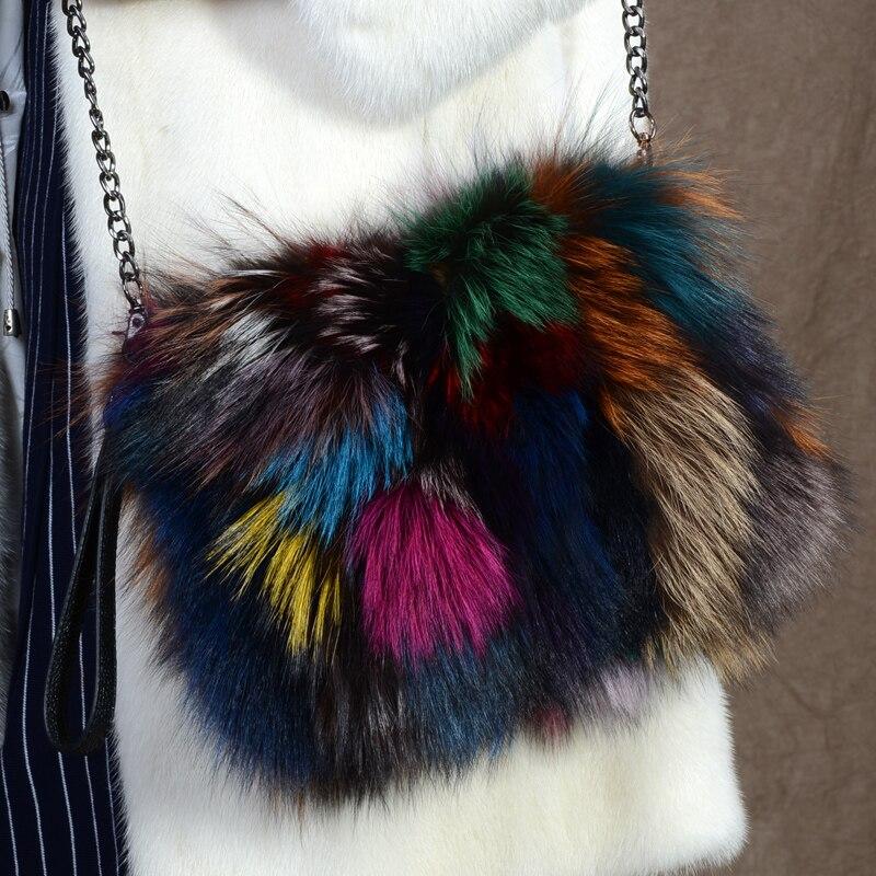 Natura futra lisa torby dla kobiet 2019 Mix kolor futro dzień sprzęgła torebka zima torebki damskie luksusowe łańcuchy torba Crossbody bolsa w Torby z uchwytem od Bagaże i torby na  Grupa 2