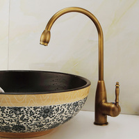 Full bronze antique faucet hot cold washbasin tap