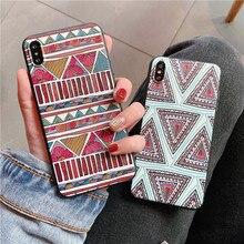 Funda de teléfono con patrones geométricos Vintage para iphone XS Max Case para iphone X XR 8 7 6S 6 Plus