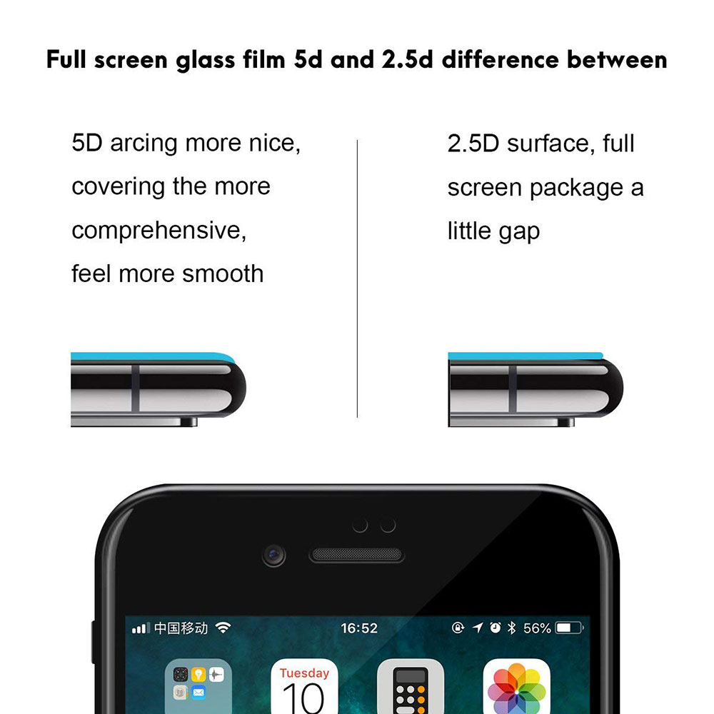 NYFundas For iPhone 7 Tempered Glass 5D Full Cover Screen Protector Film For iPhone XS X S 8 Plus 6 6S verre tremp Protection 3D (6)