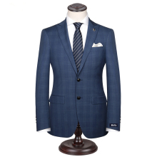 Custom Made Men's Wedding Suits Groom Tuxedos Jacket+Pant+Tie Formal Suits Business Causal Slim Navy Plaid Custom Suit Plus Size