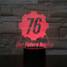 Fallout 76 our future begins USB 3D LED Night Light Boys Child Kids Baby Gifts decorative lights Game Table Lamp Bedside