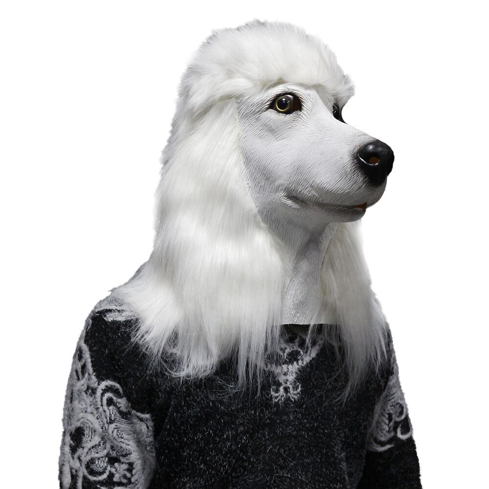 Halloween White Poodle Head Dog Mask Realistic Animal Latex Mask Cosplay Props