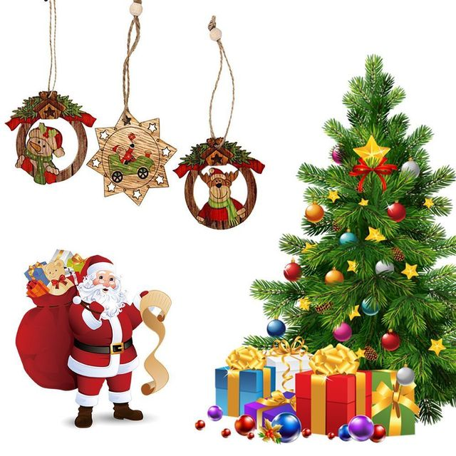 Us 4 0 45 Off 10pcs Christmas Wooden Pendants Santa Claus Snowman Ornaments Diy Christmas Party Decorations Xmas Tree Ornaments Kids Gifts In